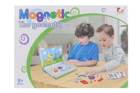 Magnetická stavebnice - geometrické tvary Vzdělávací magnetická hra - geometrických tvarů. Skládá se ze 75 magnetických tvarů a 8 karet se vzory. Tato hra podněcuje představivost a umožňuje dětem tvořit vlastní příběhy z magnetů. Rozměr balení cca 26